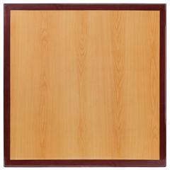 36'' Square 2-Tone High-Gloss Cherry / Mahogany Resin Table Top with 2'' Thick Drop-Lip