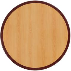 48'' Round 2-Tone High-Gloss Cherry / Mahogany Resin Table Top with 2'' Thick Drop-Lip