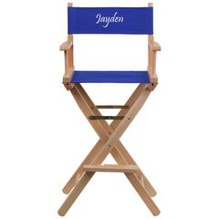 Personalized Bar Height Directors Chair in Blue