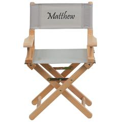 Personalized Kid Size Directors Chair in Gray