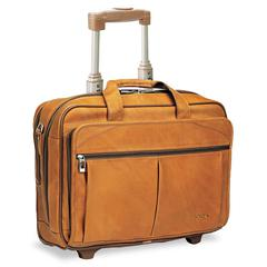SOLO Rolling Laptop Computer Case, Leather, 17 x 8 x 13-1/2, Tan