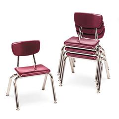 "3000 Series Classroom Chairs, 12"" Seat Height, Wine, 4/Carton"