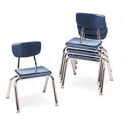"3000 Series Classroom Chairs, 12"" Seat Height, Navy, 4/Carton"