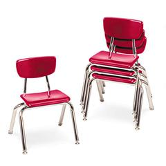 "3000 Series Classroom Chairs, 12"" Seat Height, Red, 4/Carton"