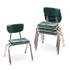 "Virco 3000 Series Classroom Chairs, 12"" Seat Height, Forest Green, 4/Carton"