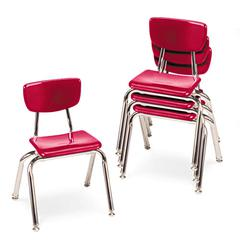 "Virco 3000 Series Classroom Chairs, 14"" Seat Height, Red, 4/Carton"