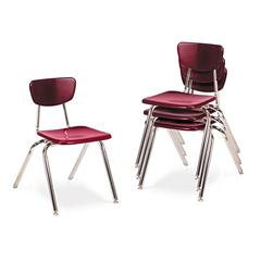 "Virco 3000 Series Classroom Chairs, 16"" Seat Height, Wine, 4/Carton"