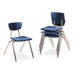 "Virco 3000 Series Classroom Chairs, 16"" Seat Height, Navy, 4/Carton"
