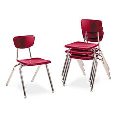"3000 Series Classroom Chairs, 16"" Seat Height, Red, 4/Carton"