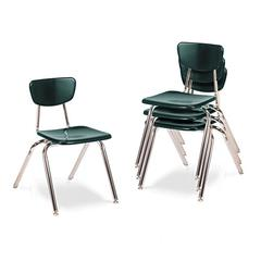 "3000 Series Classroom Chairs, 16"" Seat Height, Forest Green, 4/Carton"