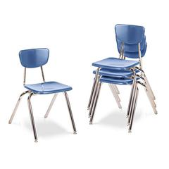 "Virco 3000 Series Classroom Chairs, 18"" Seat Height, Blueberry, 4/Carton"