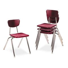 "3000 Series Classroom Chairs, 18"" Seat Height, Wine, 4/Carton"