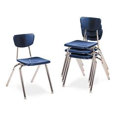"3000 Series Classroom Chairs, 18"" Seat Height, Navy, 4/Carton"