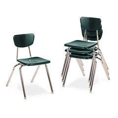 "Virco 3000 Series Classroom Chairs, 18"" Seat Height, Forest Green, 4/Carton"