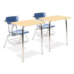 Virco 3400 Series Chair Desk, 22-3/4w x 35-3/4d x 29-1/4h, Fusion Maple/Blueberry,2/CT
