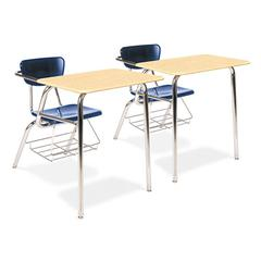 Virco 3400 Series Chair Desk, 22-3/4w x 35-3/4d x 29-1/4h, Fusion Maple/Navy, 2/Carton