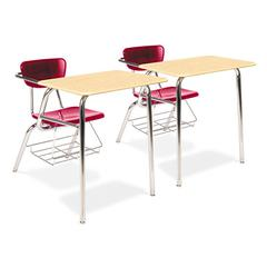 Virco 3400 Series Chair Desk, 22-3/4w x 35-3/4d x 29-1/4h, Fusion Maple/Red, 2/Carton