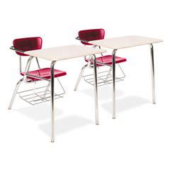 3400 Series Chair Desk, 22-3/4w x 35-3/4d x 29-1/4h, Sandstone/Red, 2/Carton