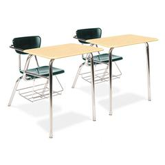 Virco 3400 Series Chair Desk, 22-3/4 x 35-3/4 x 29-1/4, Fusion Maple/Forest Green,2/CT