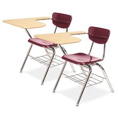 3700 Series Chair Desk, 20w x 31d x 30-1/2h, Fushion Maple/Wine, 2/Carton