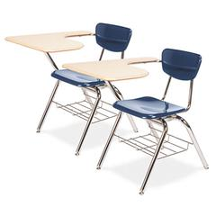 3700 Series Chair Desk, 20w x 31d x 30-1/2h, Sandstone Top/Navy, 2/Carton
