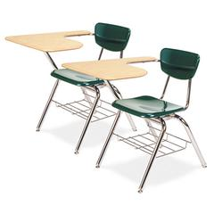 3700 Series Chair Desk, 20w x 31d x 30-1/2h, Fusion Maple/Forest Green, 2/Carton