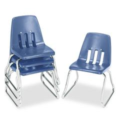 "Virco 9600 Classic Series Classroom Chairs, 12"" Seat Height, Blue/Chrome, 4/Carton"