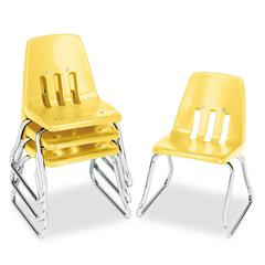 "9600 Classic Classroom Chairs, 12"" Seat Height, Squash/Chrome, 4/Carton"