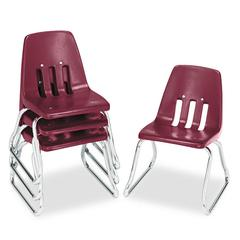 "Virco 9600 Classic Series Classroom Chairs, 12"" Seat Height, Wine/Chrome, 4/Carton"