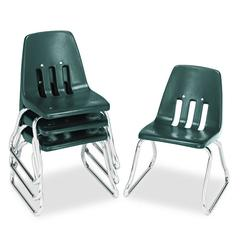 "9600 Classic Series Classroom Chairs, 12"" Seat Height, Forest Green/Chrome, 4/CT"