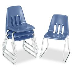 "9600 Classic Series Classroom Chairs, 14"" Seat Height, Blue/Chrome, 4/Carton"