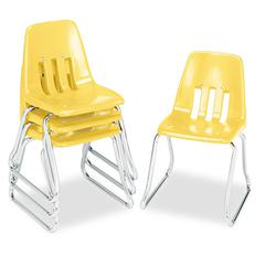 "9600 Classic Classroom Chairs, 14"" Seat Height, Squash/Chrome, 4/Carton"