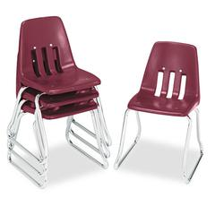 "Virco 9600 Classic Series Classroom Chairs, 14"" Seat Height, Wine/Chrome, 4/Carton"