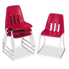 "9600 Classic Series Classroom Chairs, 14"" Seat Height, Red/Chrome, 4/Carton"