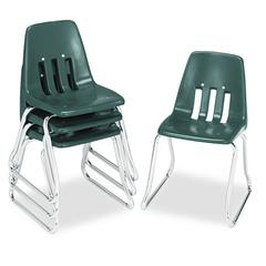 "Virco 9600 Classic Series Classroom Chairs, 14"" Seat Height, Forest Green/Chrome, 4/CT"
