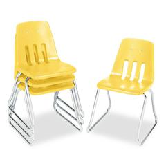 "9600 Classic Classroom Chairs, 16"" Seat Height, Squash/Chrome, 4/Carton"