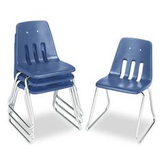 "Virco 9600 Classic Series Classroom Chairs, 18"" Seat Height, Blue/Chrome, 4/Carton"