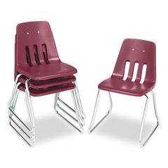 "9600 Classic Series Classroom Chairs, 18"" Seat Height, Wine/Chrome, 4/Carton"