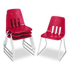 "9600 Classic Series Classroom Chairs, 18"" Seat Height, Red/Chrome, 4/Carton"