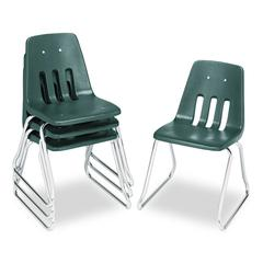 "Virco 9600 Classic Series Classroom Chairs, 18"" Seat Height, Forest Green/Chrome, 4/CT"