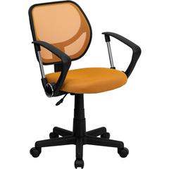 Orange Mesh Swivel Task Chair with Arms