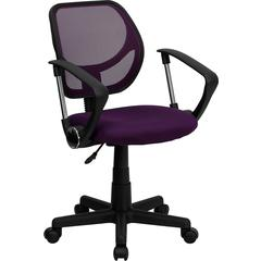 Flash Furniture Low Back Purple Mesh Swivel Task Chair with Arms