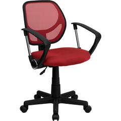Red Mesh Swivel Task Chair with Arms