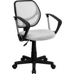 Mid-Back White Mesh Swivel Task Chair with Arms