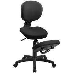 Flash Furniture Mobile Ergonomic Kneeling Posture Task Chair in Black Fabric with Back