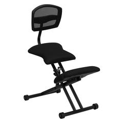 Flash Furniture Ergonomic Kneeling Chair with Black Mesh Back and Fabric Seat