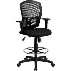 Flash Furniture Mid-Back Designer Back Drafting Chair with Padded Fabric Seat and Height Adjustable Arms