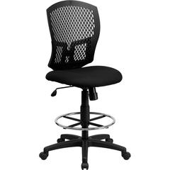 Mid-Back Designer Back Drafting Chair with Padded Fabric Seat