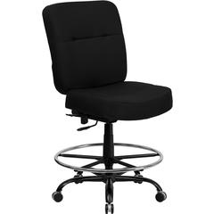 HERCULES Series 400 lb. Capacity Big & Tall Black Fabric Drafting Chair with Extra WIDE Seat