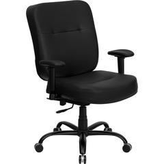 Flash Furniture HERCULES Series 400 lb. Capacity Big & Tall Black Leather Executive Swivel Office Chair with Extra WIDE Seat and Height Adjustable Arms